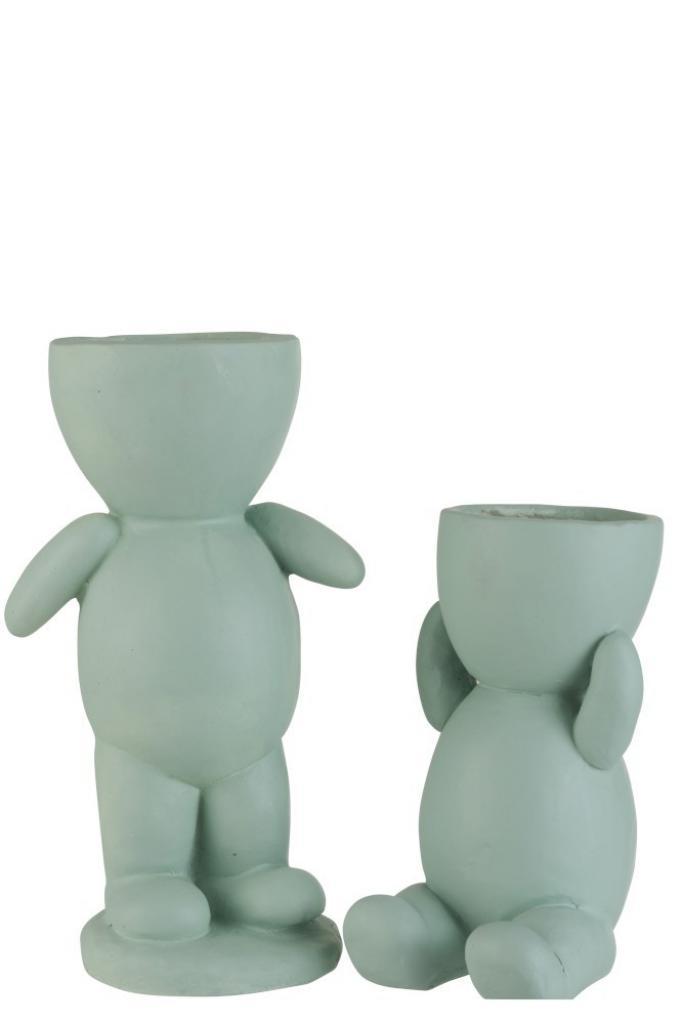 Produktové foto J-Line by Jolipa Světle zelený květináč  figurka  z polyresinu 2 kusy  - 21*21*43 cm