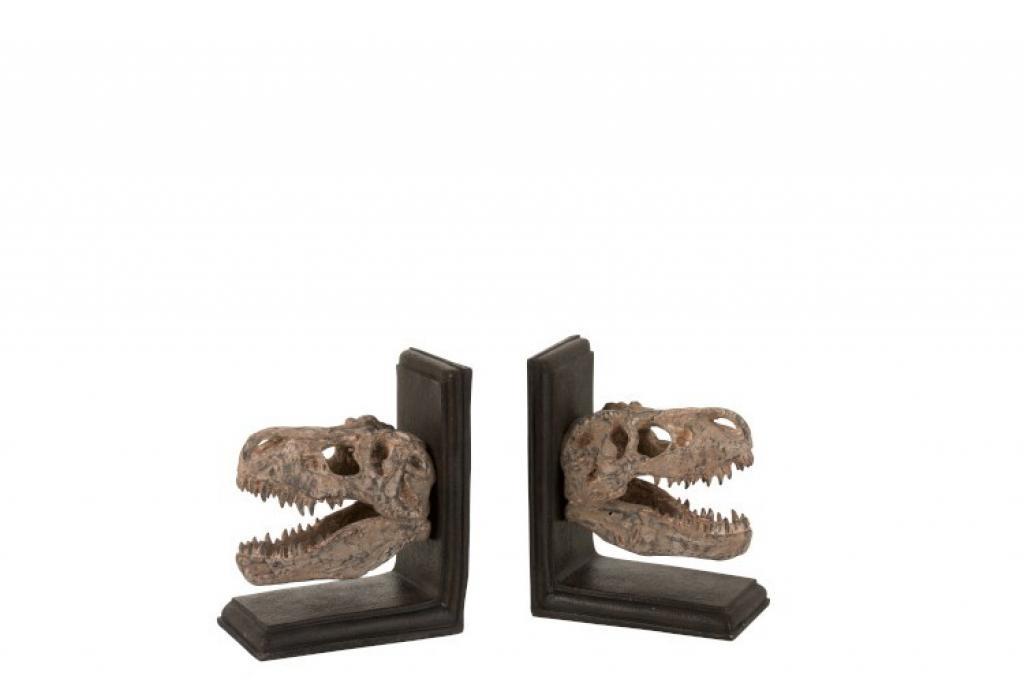 Produktové foto J-Line by Jolipa Set 2ks zarážky na knihy s hlavou dinosaura Dino - 28*9*17 cm
