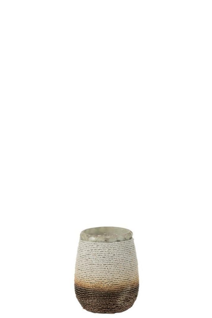 Produktové foto J-Line by Jolipa Skleněný bílo hnědý svícen na čajovou svíčku se zdobením - 10*10*12 cm