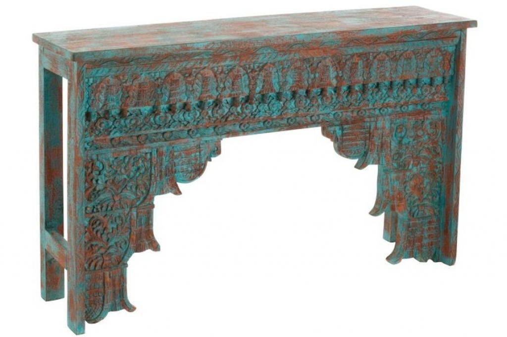 Produktové foto J-Line by Jolipa Konzolový dřevěný stůl s odřením a modrou patinou Azure -150*38*88cm