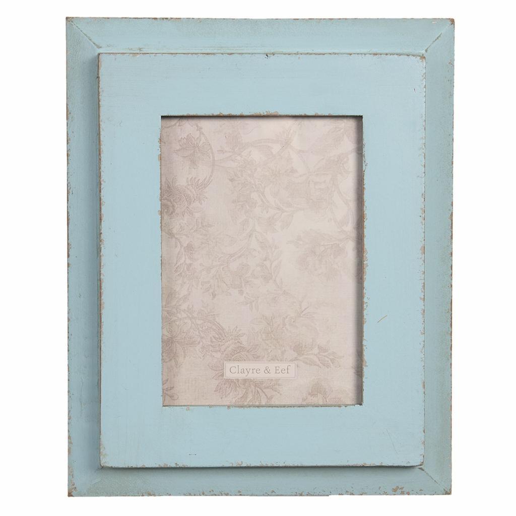 Produktové foto Clayre & Eef Modrý dřevěný vintage fotorámeček - 22*3*28 cm / 13*18 cm