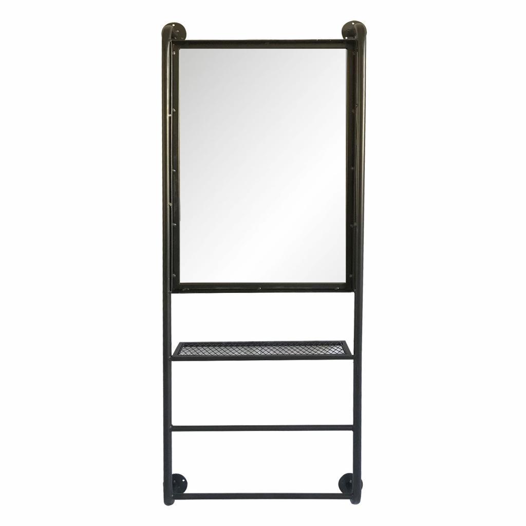 Produktové foto Clayre & Eef Nástěnné zrcadlo v kovovém rámu s policemi Alayna - 48*10*124 cm