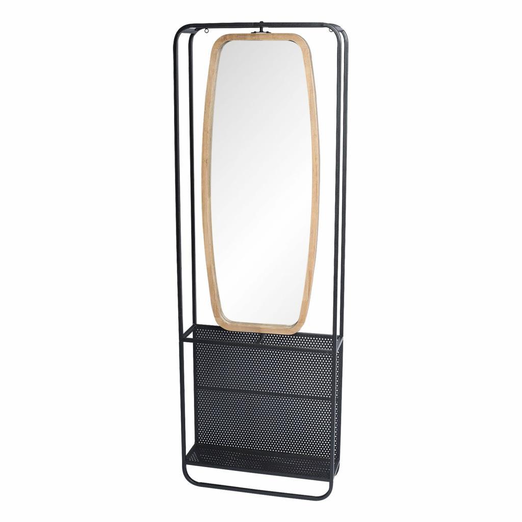 Produktové foto Clayre & Eef Zrcadlo v dřevěno-kovovém rámu s policemi Verene - 54*16*160 cm