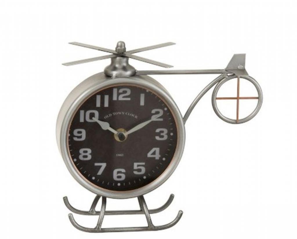 Produktové foto J-Line by Jolipa Stříbrné kovové hodiny ve tvaru vrtulníku Helicopter  - 21*15*20 cm
