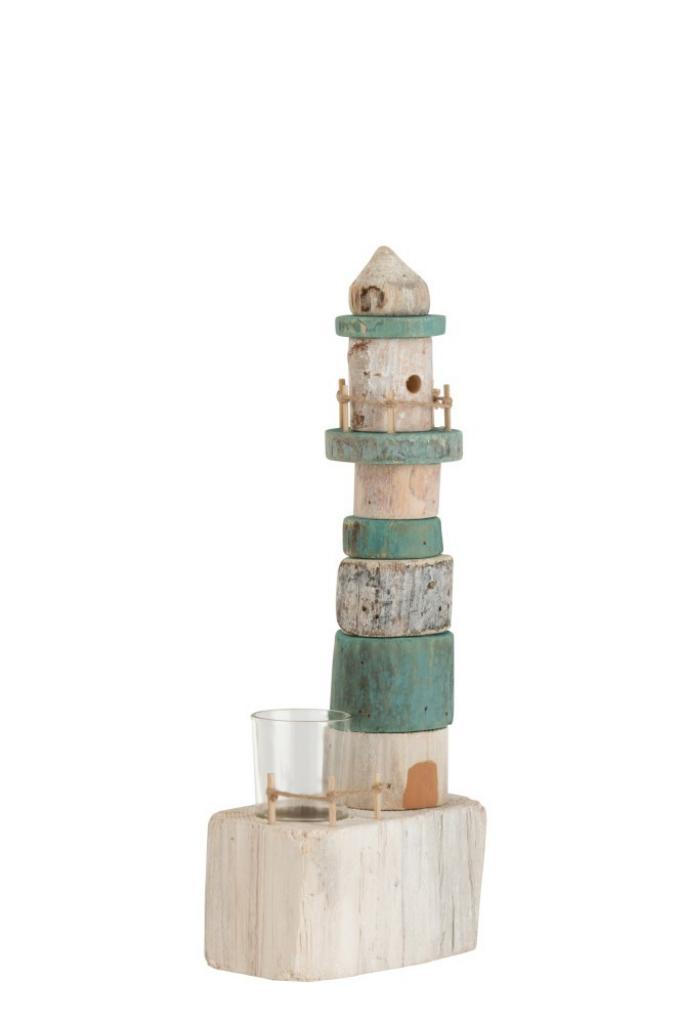 Produktové foto J-Line by Jolipa Dřevěný modro bílý svícen maják na jednu čajovou svíčku 14*9*38 cm