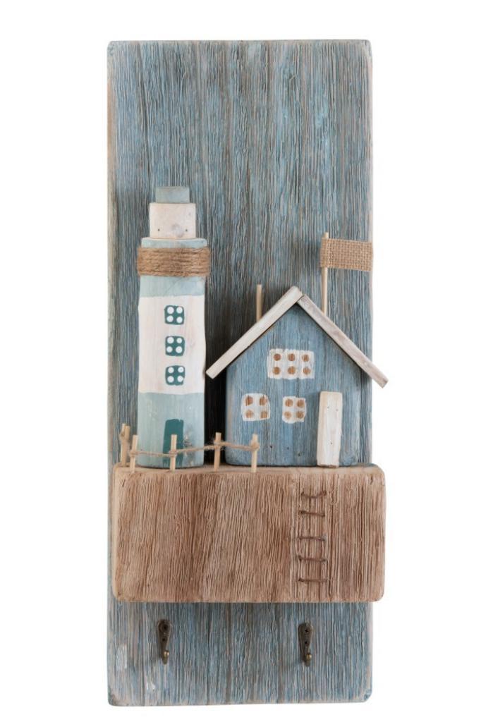 Produktové foto J-Line by Jolipa Nástěnný dřevěný věšák s dekorací majáku - 19,8*9*50 cm