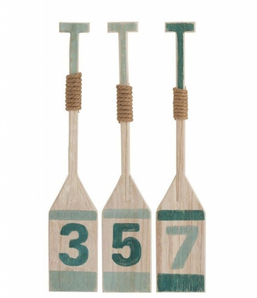 Produktové foto J-Line by Jolipa Sada 3ks dřevěných dekoračních pádel - 12*3*65 cm