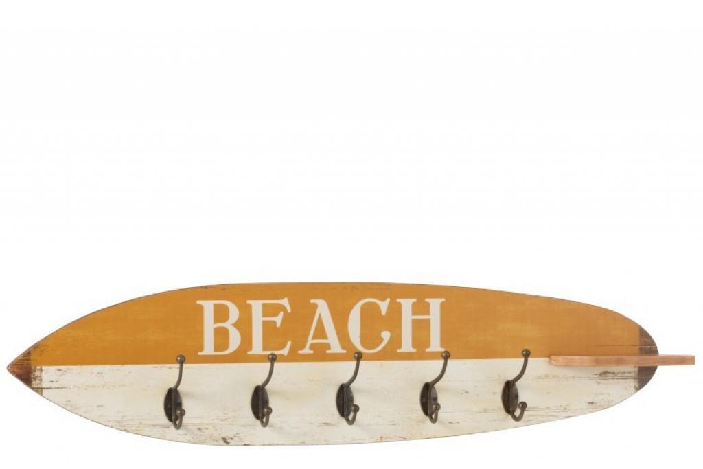 Produktové foto J-Line by Jolipa Dřevěný věšák v designu surfu Beach - 87*9*20,5 cm