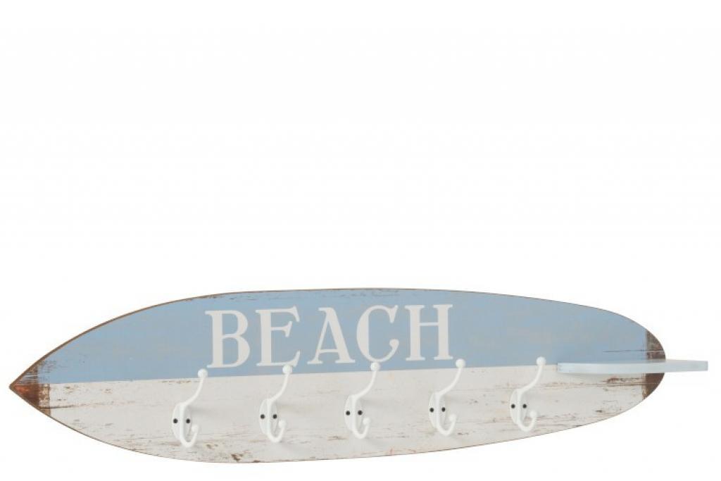 Produktové foto J-Line by Jolipa Dřevěný věšák v designu surfového prkna Beach - 87*9*20,5 cm