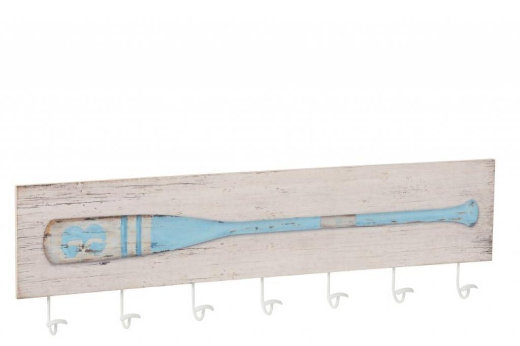 Produktové foto J-Line by Jolipa Nástěnný dřevěný věšák s dekorací pádla Pagayer - 101,5*6*29 cm