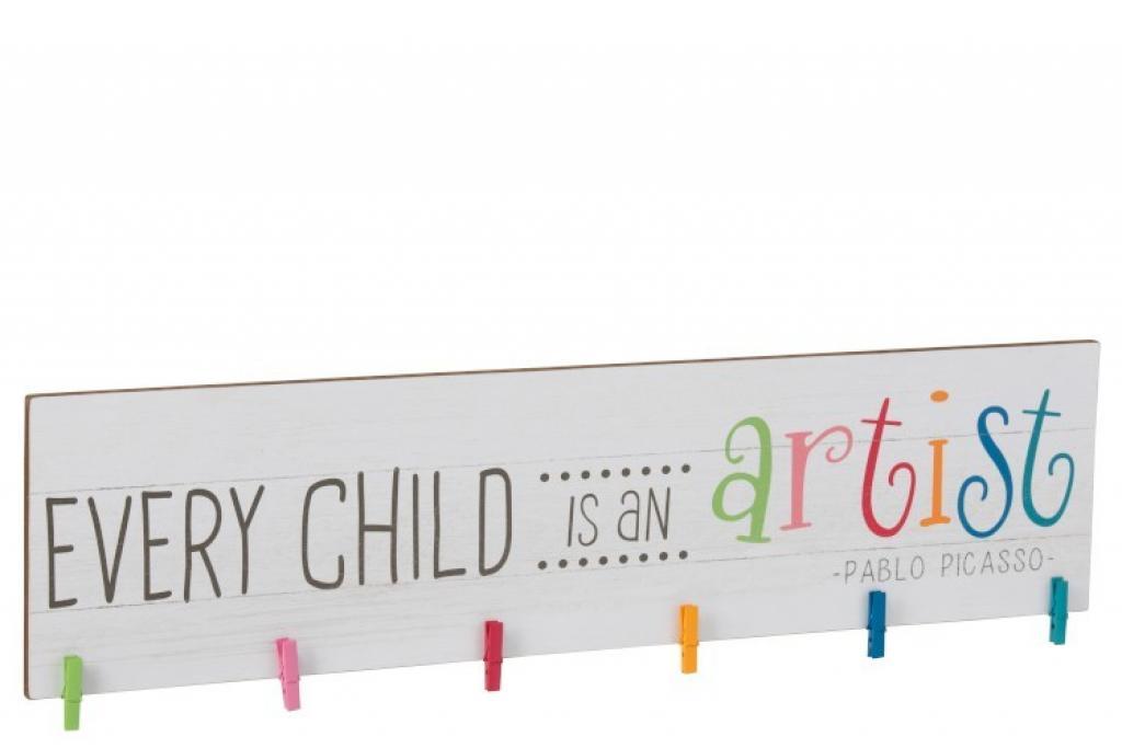 Produktové foto J-Line by Jolipa Dětský dřevěný věšák s nápisem Every child is an artist - 100*3,1*27,5 cm