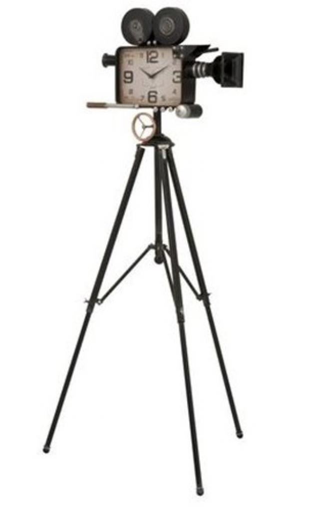 Produktové foto J-Line by Jolipa Hodiny v designu retro kamery na stativu - 70*70*153 cm