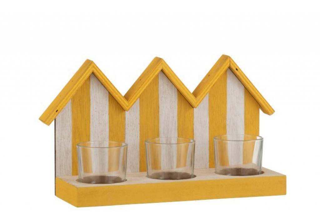 Produktové foto J-Line by Jolipa Dřevěný svícen žluto bílé plážové domečky se třemi skleněnými miskami na čajovou svíčku - 25,5*8,5*15 cm