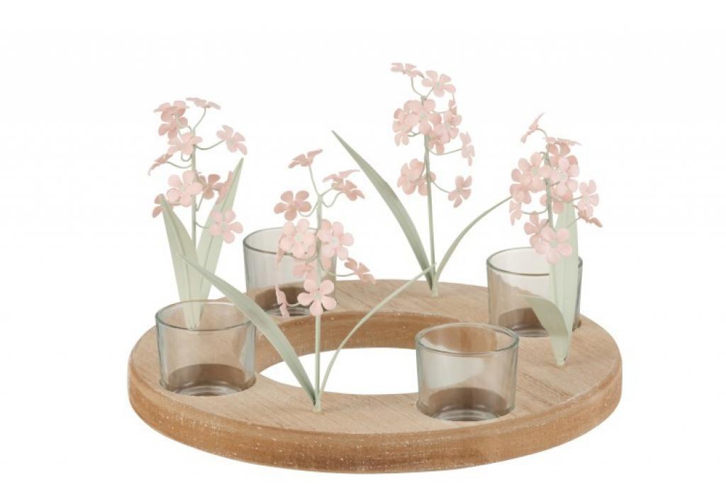 Produktové foto J-Line by Jolipa Hnědý dřevěný svícen na čtyři čajové svíčky s růžovými skleněnými květinami- 26*26*16 cm