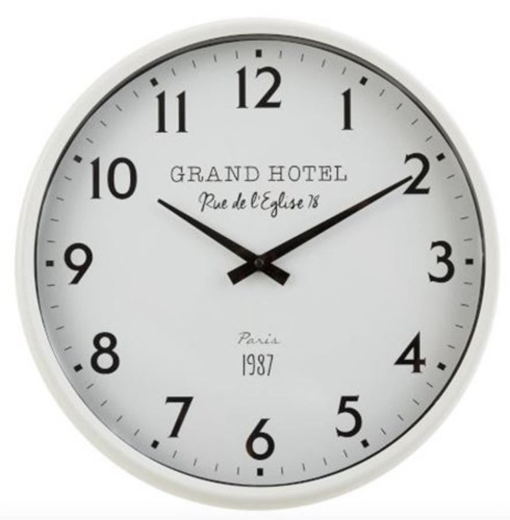Produktové foto J-Line by Jolipa Bílé nástěnné hodiny Grand Hotel Paris - Ø 40*10 cm