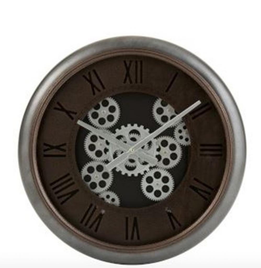 Produktové foto J-Line by Jolipa Nástěnné hodiny se stříbrným rámem a ozubenými kolečky Jessamond  - Ø 52*7,5 cm