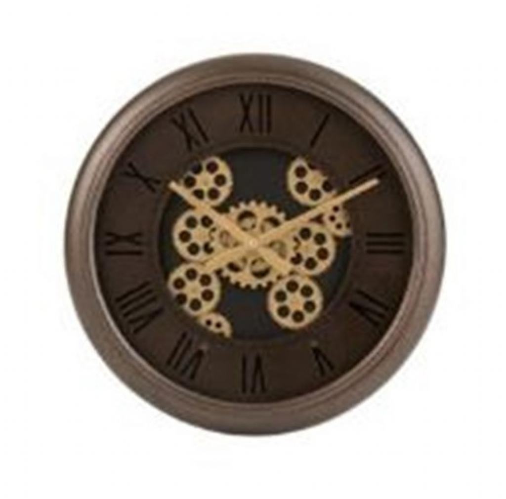 Produktové foto J-Line by Jolipa Nástěnné hodiny s kovovým rámem a zlatými ozubenými kolečky Jessamond - Ø 52*7 cm