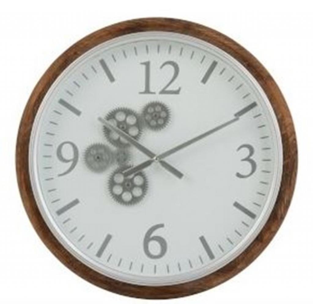 Produktové foto J-Line by Jolipa Nástěnné hodiny s dřevěným rámem a ozubenými kolečky Laudine S - Ø 52*7 cm