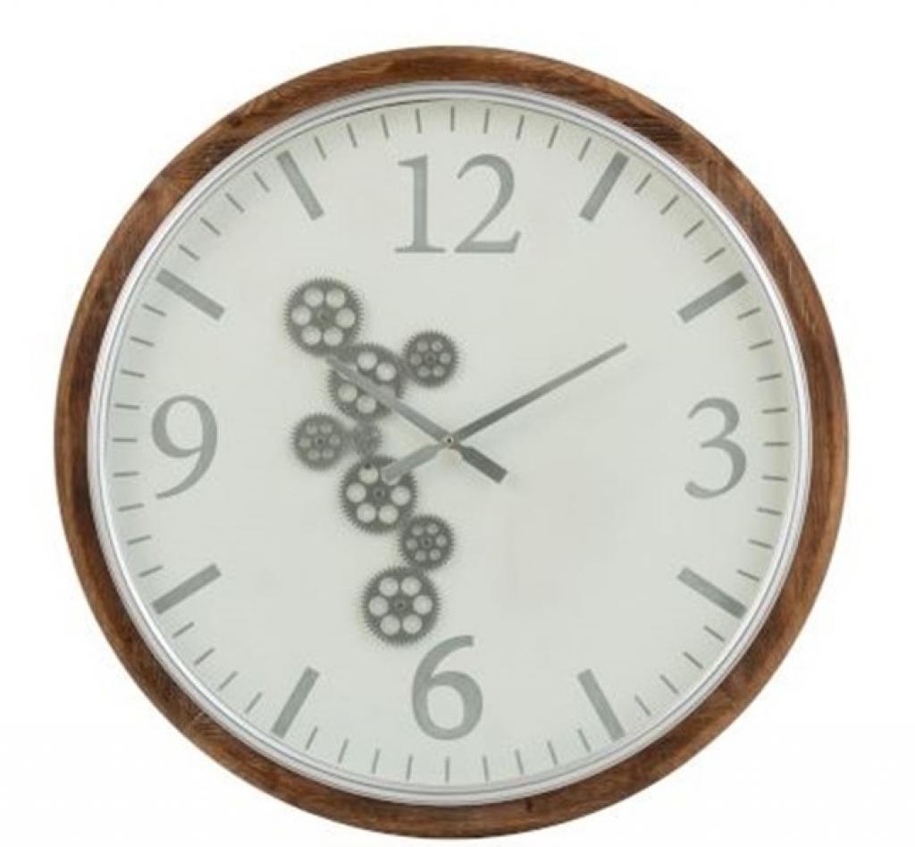 Produktové foto J-Line by Jolipa Velké nástěnné hodiny s dřevěným rámem a ozubenými kolečky Laudine L  - Ø 75*6 cm