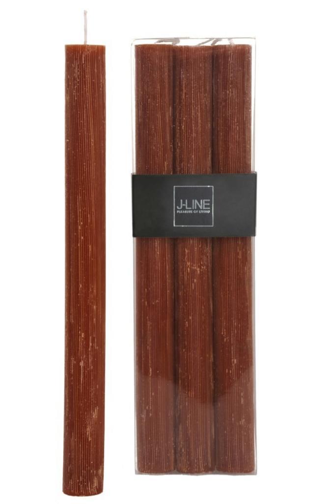 Produktové foto J-Line by Jolipa Box 6 oranžovo hnědých Rust stolních svíček -13H / 24 cm
