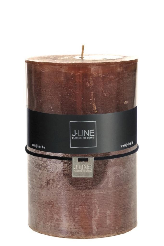 Produktové foto J-Line by Jolipa Hnědá nevonná svíčka X XL válec - Ø  10*15 cm/120H