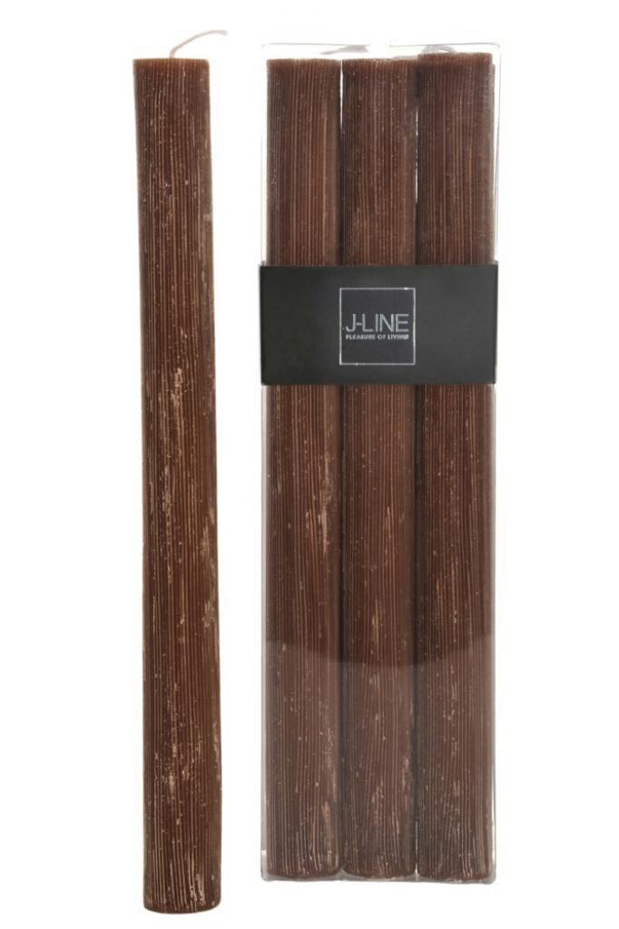 Produktové foto J-Line by Jolipa Box 6 hnědých stolních svíček  -13H /24 cm