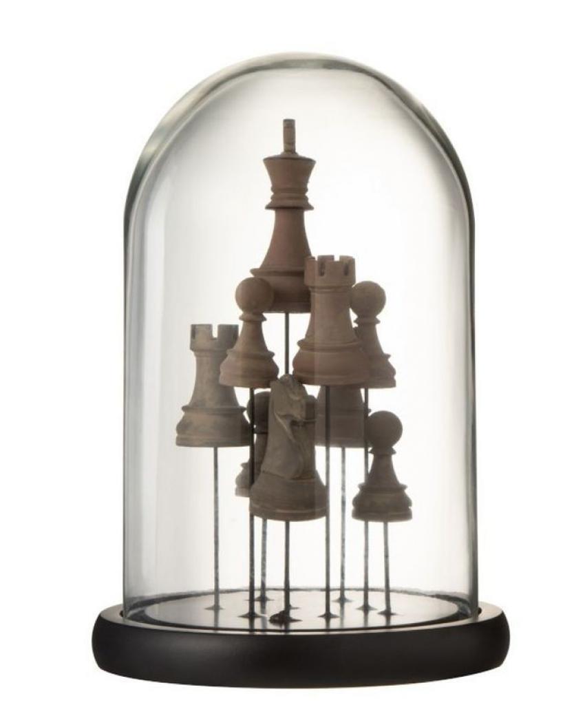 Produktové foto J-Line by Jolipa Dekorační podnos se skleněným poklopem Šachy - Ø17 *25 cm