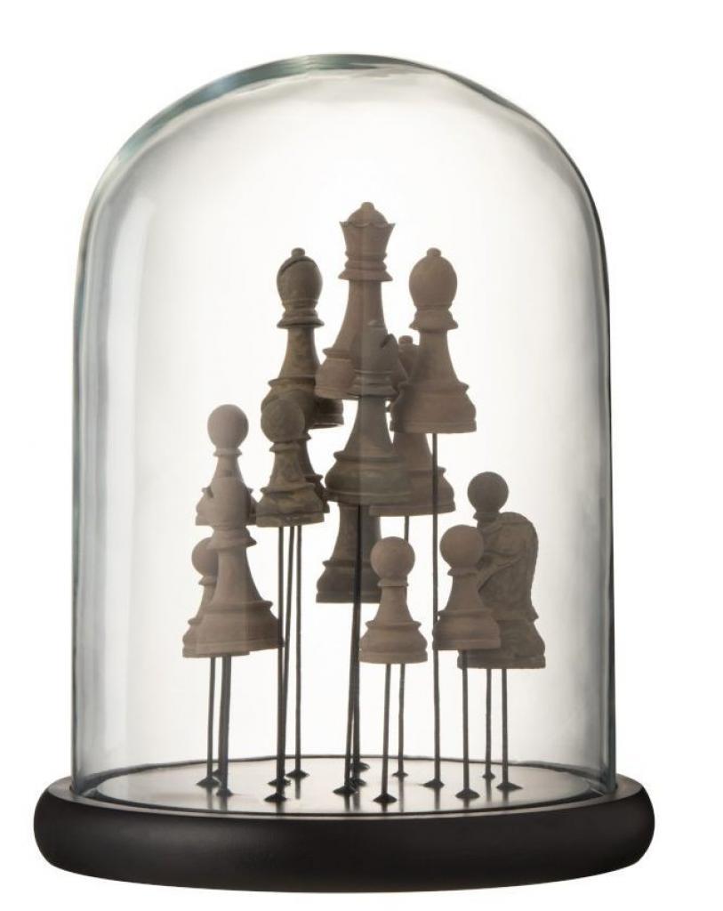 Produktové foto J-Line by Jolipa Dekorační podnos se skleněným poklopem Šachy - Ø 23*30 cm