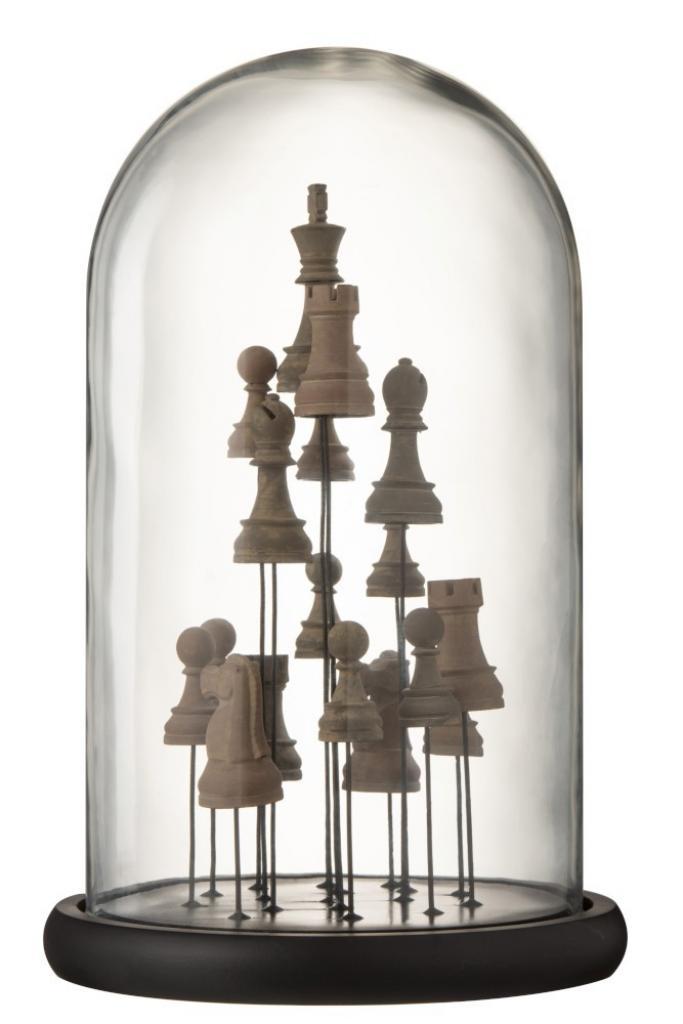 Produktové foto J-Line by Jolipa Dekorační podnos se skleněným poklopem Šachy - Ø 23*37,5 cm