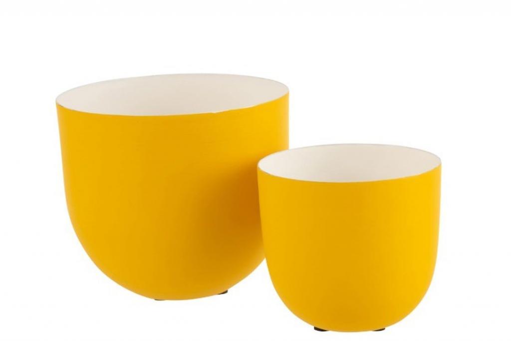 Produktové foto J-Line by Jolipa Set 2 žlutých kovových misek Lacquer yellow - Ø 17*15 cm