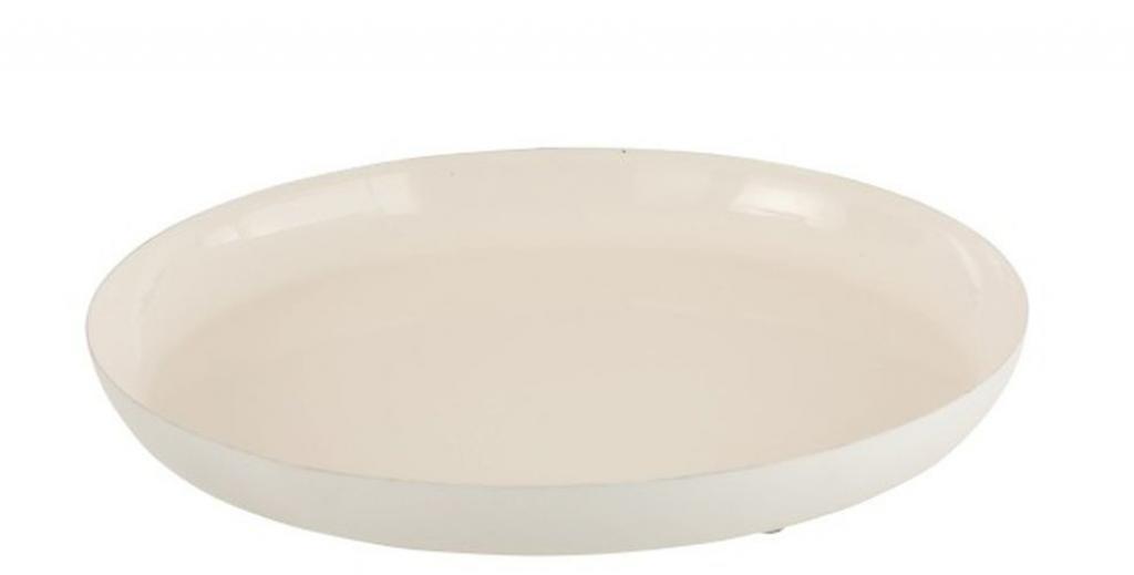 Produktové foto J-Line by Jolipa Bílý kovový podnos Lacquer white - Ø26,5*3 cm