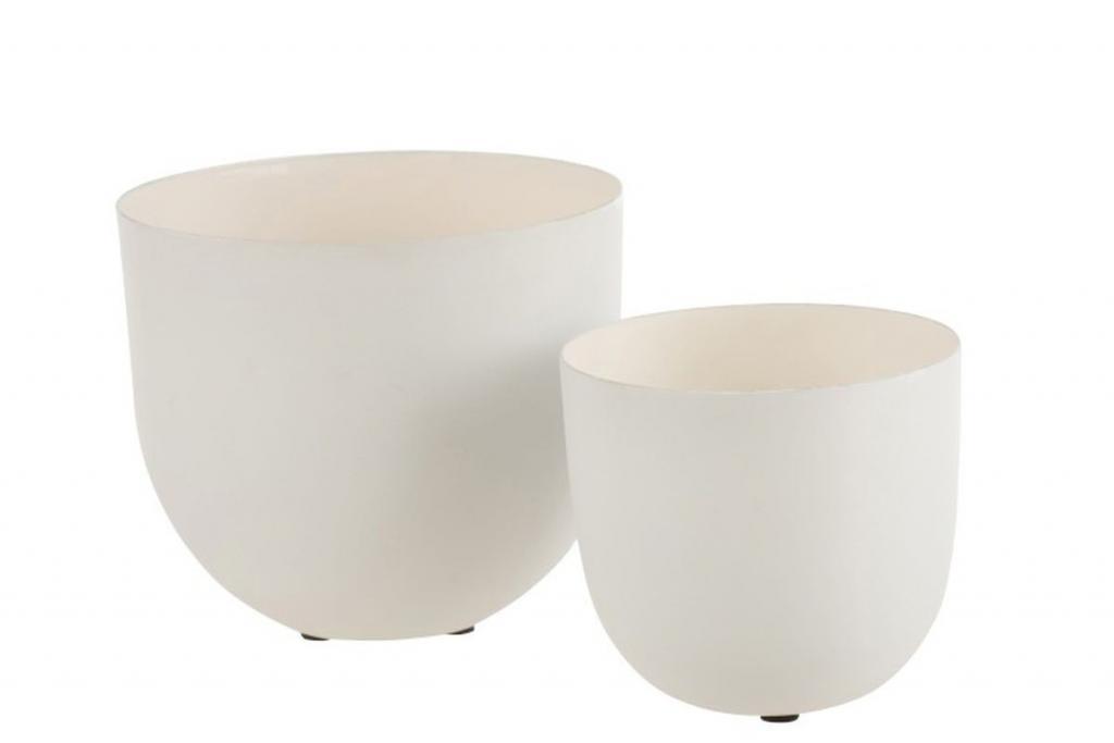 Produktové foto J-Line by Jolipa Set 2 bílých kovových misek Lacquer white - Ø18*18 cm