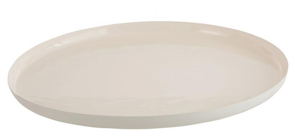 Produktové foto J-Line by Jolipa Bílý kovový podnos Lacquer white - Ø50*3 cm