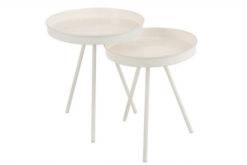 Produktové foto J-Line by Jolipa Set 2 bílých odkládacích stolků Lacquer white - Ø 46,5*59 cm