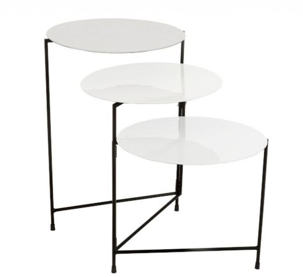 Produktové foto J-Line by Jolipa Kovový odkládací stolek se 3mi deskami Lacquer white - 125*40*61 cm