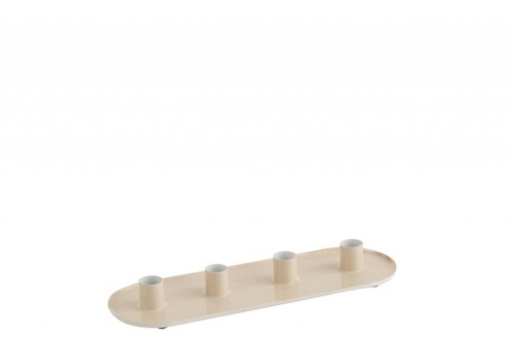 Produktové foto J-Line by Jolipa Kovový béžový lakovaný svícen na 4 svíčky- 32,5*12*3 cm