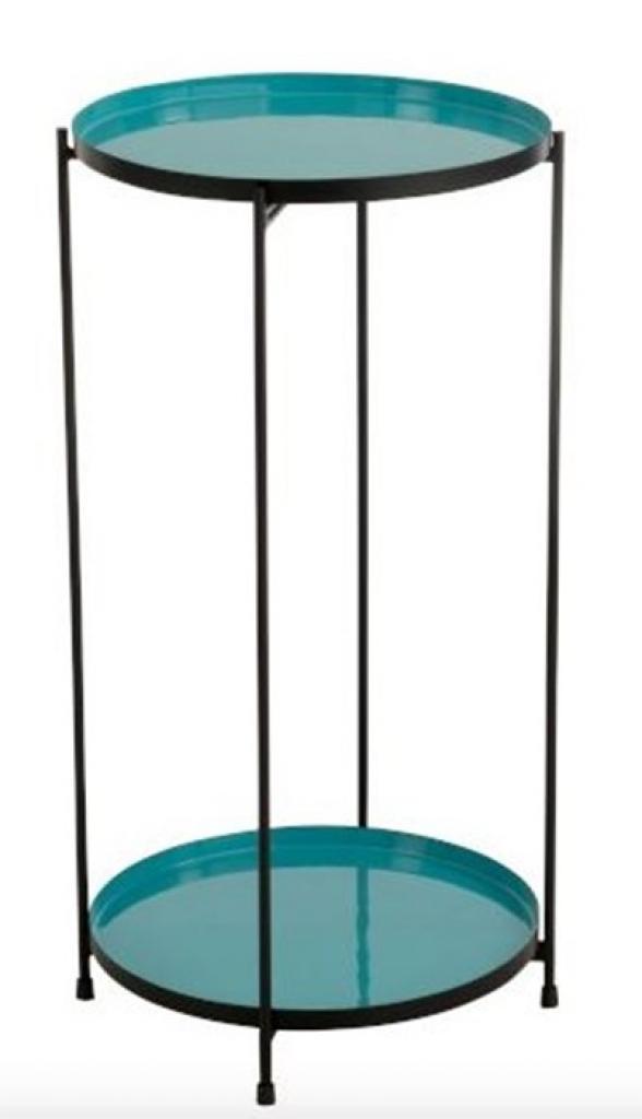 Produktové foto J-Line by Jolipa Tyrkysový kovový odkládací stolek Cerise - 32*10*60 cm