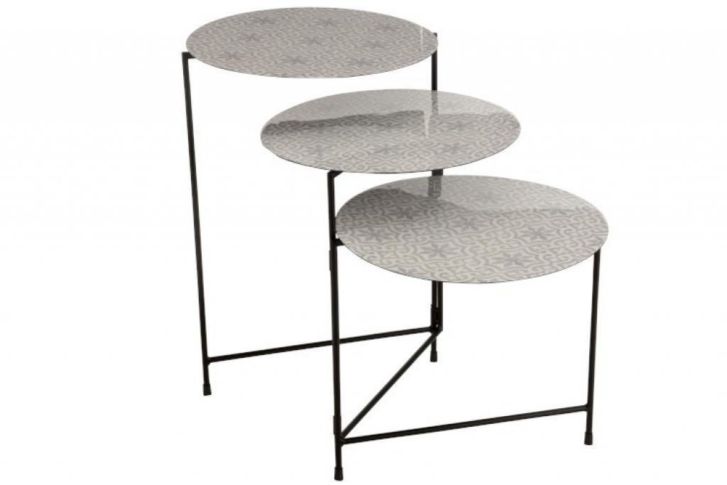 Produktové foto J-Line by Jolipa 3dílný kovový odkládací stolek Fantine - 125*40*61 cm