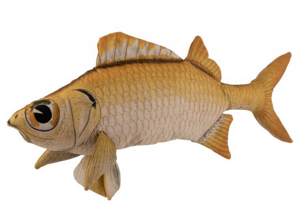 Produktové foto J-Line by Jolipa Hnědý polštář ve tvaru ryby Fish Jeff - 93*28*40 cm