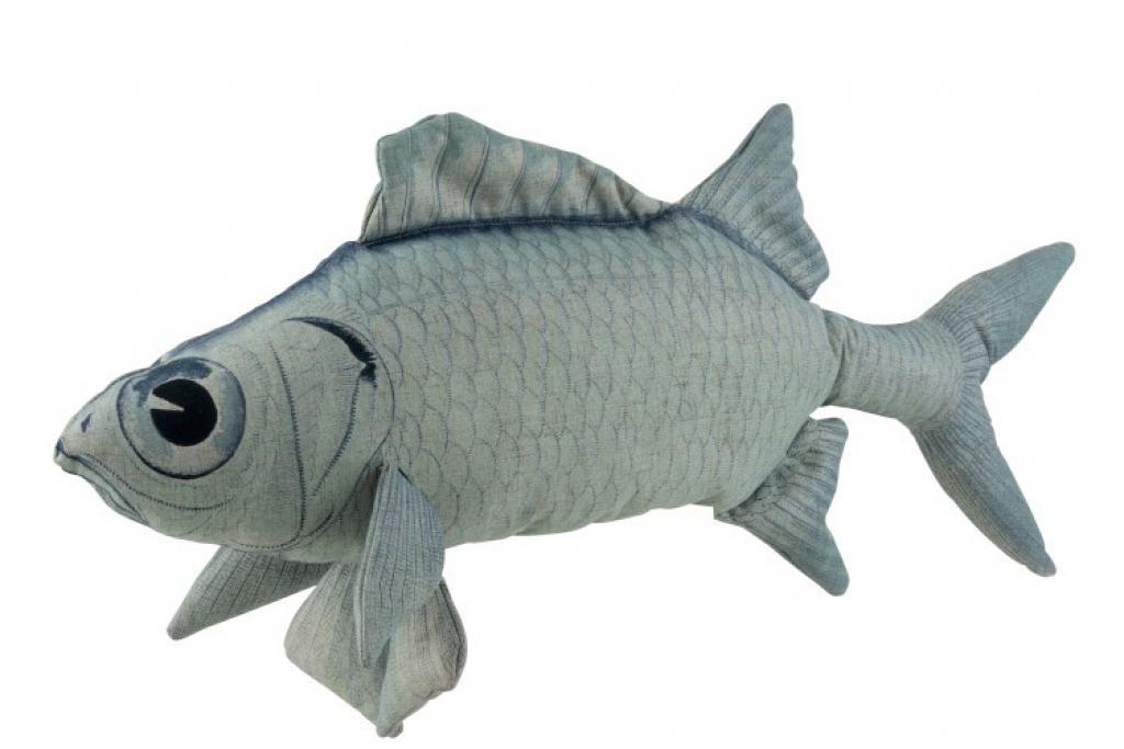 Produktové foto J-Line by Jolipa Modrý polštář ve tvaru ryby Fish Jeff - 93*28*40 cm