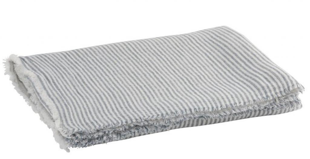 Produktové foto J-Line by Jolipa Modro - bílý pruhovaný bavlněný pléd  Stripes - 130*170 cm