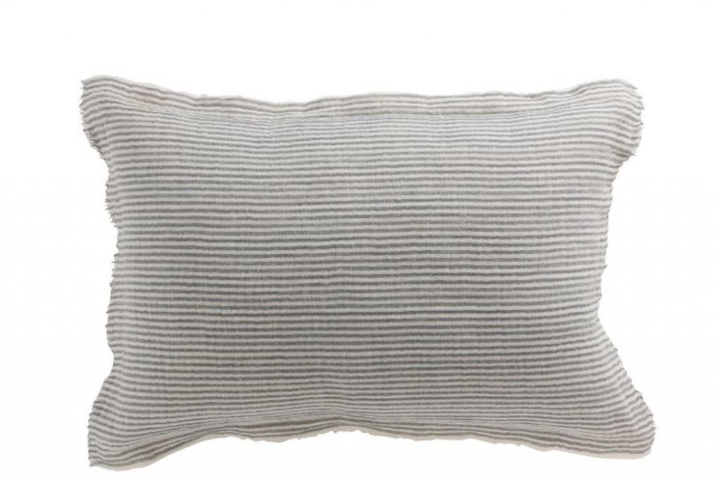 Produktové foto J-Line by Jolipa Modro - bílý pruhovaný bavlněný polštář Stripes  - 40*60cm