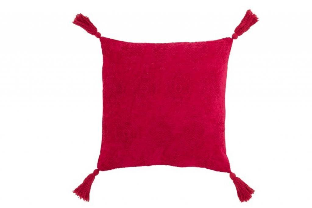 Produktové foto J-Line by Jolipa Tmavě růžový polštář Fayola s třásněmi - 45*45 cm