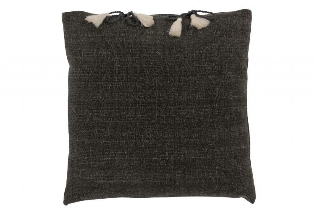 Produktové foto J-Line by Jolipa Tmavě šedý polštář se střapci Charline - 45*45 cm