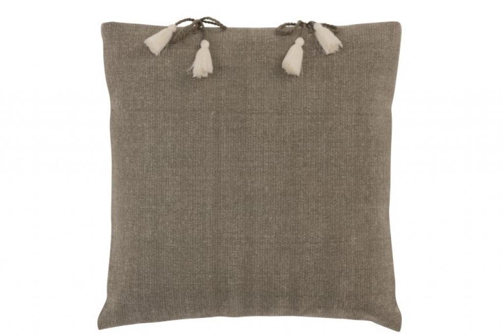 Produktové foto J-Line by Jolipa Béžovo-hnědý polštář se střapci Charline – 45*45 cm