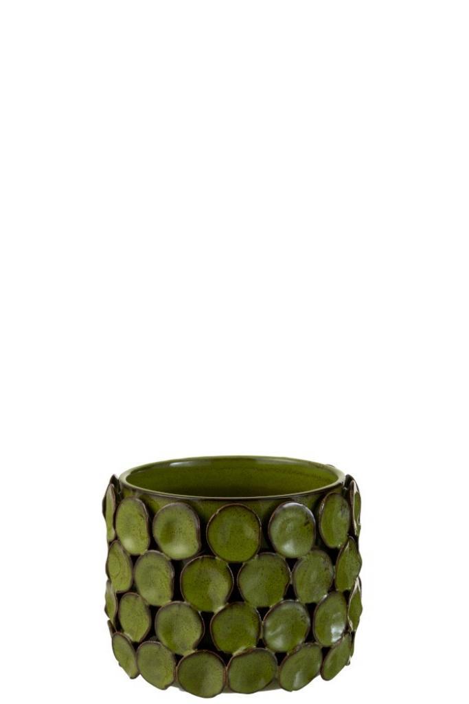 Produktové foto J-Line by Jolipa Zelený keramický květináč se zdobením - 16*16*13 cm