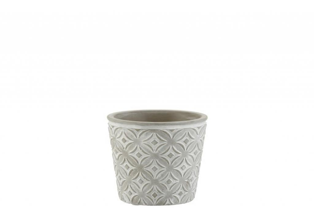 Produktové foto J-Line by Jolipa Šedý keramický květináč s orient vzorem  - 12*12*10,5 cm