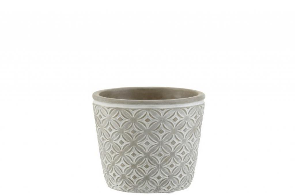 Produktové foto J-Line by Jolipa Šedý keramický květináč s orient vzorem - 14*14*12,5 cm