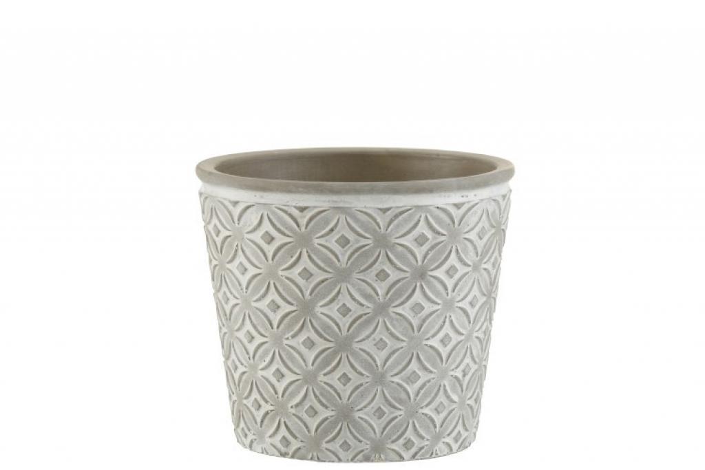 Produktové foto J-Line by Jolipa Šedý keramický květináč s orient vzorem - 17*17*15 cm