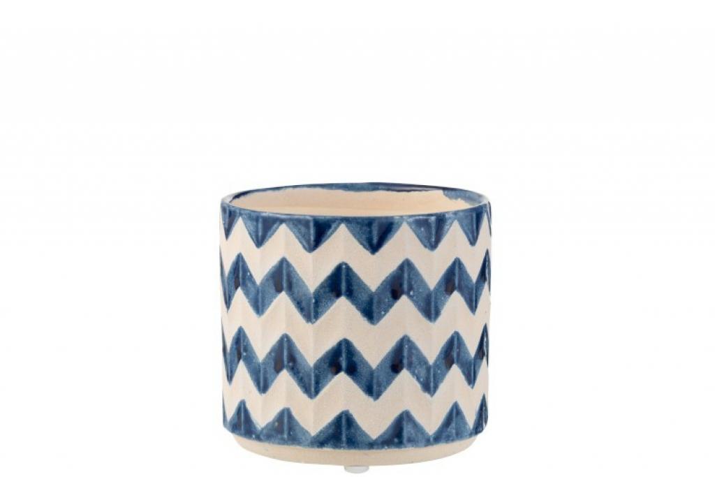 Produktové foto J-Line by Jolipa Keramický modro béžový květináč se vzorem zigzag - 14*14*12,5 cm